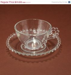 Vintage Imperial Glass Candlewick Cup and Saucer Set    A classic beaded design that complements a wide range of decorating styles Candlewick was made
