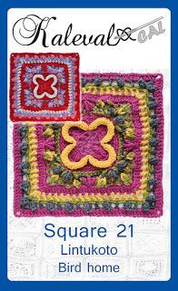 Lintukoto - Bird home crochet square pattern is part of the Kalevala CAL crochet-along. Kalevala CAL is a crochet blanket project with 24 different squares. Crochet Motif Patterns, Crochet Blocks, Crochet Squares, Crochet Designs, Knitting Patterns, Quick Crochet, Knit Crochet, Free Crochet, Motifs Granny Square