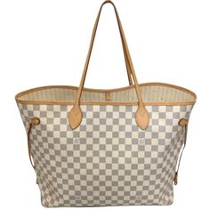 Pre-owned Louis Vuitton Neverfull Gm Damier Azur Tote Bag ($1,124) ❤ liked on Polyvore featuring bags, handbags, tote bags, louis vuitton, purses, neverfull, none, leather man bags, genuine leather tote and louis vuitton tote