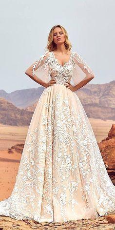 15 Oksana Mukha 2018 Wedding Dresses ❤ oksana mukha 2018 wedding dresses a line sweetheart tatto effect floral appliques blush skirt ❤ Full gallery: https://weddingdressesguide.com/oksana-mukha-2018-wedding-dresses/