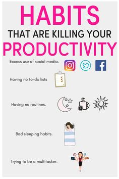 habits are killing your productivity/ how to be more productive at work/ have a productive day/ productivity tips/ productivity planner/ productivity ideas/ Productivity Apps/ productivity tips/ productivity hacks/ time management tips/ be organised/ Stop Productive Things To Do, Productive Day, Application Utile, Productivity Apps, How To Improve Productivity, Learning To Let Go, How To Stop Procrastinating, Time Management Tips, Business Management