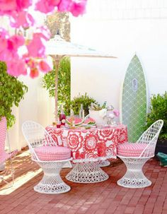 Beach inspired patio but in pink