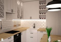 ODROBINA SKANDYNAWII - Mała zamknięta kuchnia w kształcie litery g w aneksie, styl skandynawski - zdjęcie od TAKE [DESIGN]