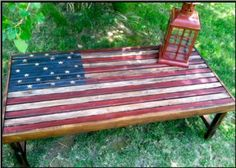 Love this rustic Americana coffee table!