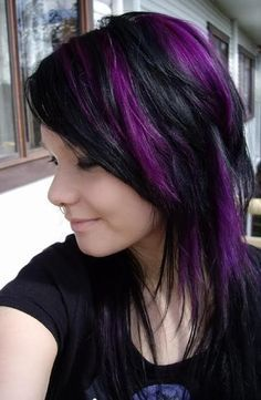 Purple highlights. I want mine in chunks like this, but with my current hair style!