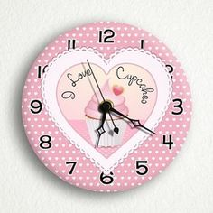 """I Love Cupcakes 6"""" Silent Wall Clock Includes Desk Table Stand 