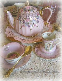 Gorgeous vintage Sadler teapot & antique Bavarian china ~Savannah Parker collection