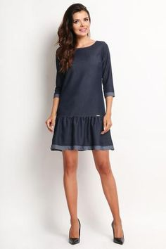 Blue Denim Frilled Fall Collection Dress Molly-dress.com