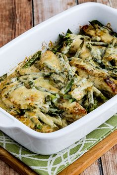 This casserole with Chicken, Asparagus and Three Cheeses is a delicious and easy low-carb dinner that's also Keto, low-glycemic, gluten-free, and you could eat it as a treat for the South Beach Diet too. Use the Recipes-by-Diet-Type Index to find more recipes like this one. Click here to PIN this easy Chicken and Asparagus with Three Cheeses!…