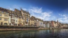 Quai Saint-Nicolas - View towards the street Quai Saint-Nicolas in Strasbourg at the Ill river.