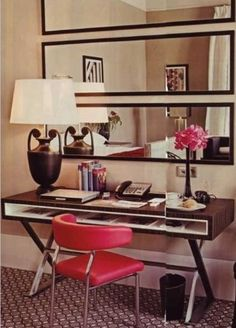Horizontal mirrors- like them behind desk, but I think my desk will have a back part to it