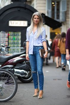 2014 Milan FW denim, half tucked shirt, grey hair