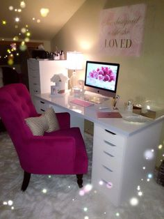 My office is stylish minimalism with a dash of girly-chic flair. It's complete… – Chic Home Office Design Home Office Space, Home Office Design, Home Office Decor, Home Decor, Office Ideas, Office Style, Office Spaces, Beauty Room, Dream Rooms