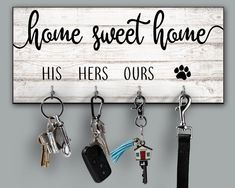 Home Sweet Home Personalized Key Ring Holder Housewarming Gift Quote Key Holder His Hers Ours Dog Paw Family Name Key Rack Newlywed Gift - Cell Phone Ring Stand - Ideas of Cell Phone Ring Stand - Home Sweet Home Personalized Key Ring Holder Housewarming Sweet Home, Wooden Pattern, Lets Stay Home, Key Organizer, Key Rack, Rack Design, Newlywed Gifts, Great Housewarming Gifts, Housewarming Invitations
