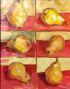 Golden Pears on Orange still life 11 x 14 original by RubinettiArt