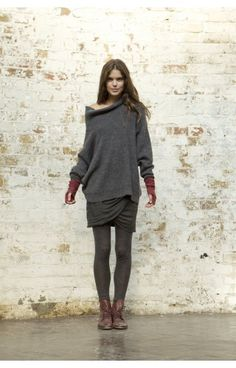 love the grey with bruised plum armwarmers...