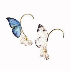 片羽の蝶 白 イヤーフック