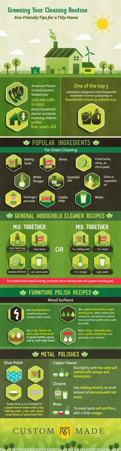 Eco-Friendly Tips for a Tidy Home | ecogreenlove ••• A few tips can help you avoid many chemicals, non-biodegradable plastic tools, and energy-sucking appliances—and it's easier than you might think.