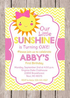 PRINTABLE, Personalized You are My Sunshine Invitation for Birthday Party, You Print, Pink, Yellow and Orange
