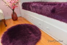 Luxurious Nursery Area Rug Round Nonslip Suede Backing Eggplant Lavender Faux Fur Boy or Girl Bedroom Modern Accents Home Decor Oval Rugs, Round Area Rugs, Pink Yellow, Blue And White, Nursery Area Rug, Shaggy, Modern Bedroom, Girls Bedroom, Shag Rug