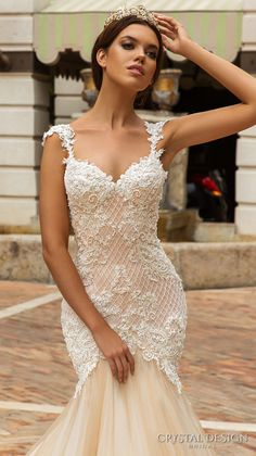 crystal design 2017 bridal sleeveless with strap sweetheart neckline heavily embellished bodice tulle fit and flare mermaid wedding dress low back royal train (solange) zbv -- Crystal Design 2017 Wedding Dresses Wedding Dress Low Back, Wedding Dresses With Straps, Fit And Flare Wedding Dress, Dream Wedding Dresses, Bridal Dresses, Wedding Gowns, 2017 Wedding, 2017 Bridal, Trendy Wedding