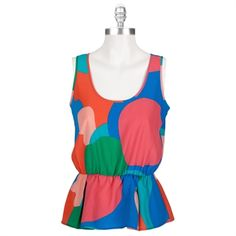 Collective Concepts Women's Contemporary Printed Peplum Tank