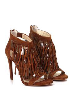 Alexandra - Sandalo alto - Donna - Sandalo alto in camoscio con zip su retro e frange frontali. Suola in cuoio, tacco 110. - CACAO - € 155.00