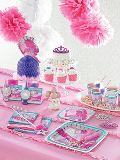 Princess Birthday Party: Party at Lewis Elegant Party Supplies, Plastic Dinnerware, Paper Plates and Napkins - Page 3 of 3 Prince Birthday Party, Girl Birthday Themes, Princess Birthday, Birthday Party Decorations, Birthday Parties, Pink Princess Party, Baby Shower Princess, Princess Party Centerpieces, Plastic Dinnerware