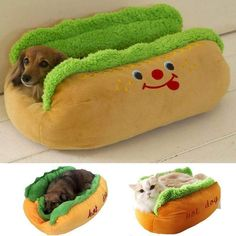 Hot Dog Pet Winter Bed - Dog Costumes these costumes are cute, cuddly, and practically guaranteed to earn a treat or two. Cute Dog Beds, Puppy Beds, Dog Costumes, Outdoor Dog, Dog Houses, Training Your Dog, Training Tips, Dog Accessories, Dog Supplies