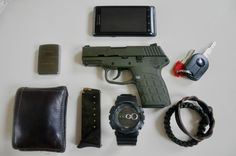 (Submitted) EDC By:menteforte Kel Tec Pf9 ( Two 7 Round Magazines) Motorola Droid 2 - Purchase on Amazon OD Green Paracord Bracelet - Purchase on Amazon Custom 1941 Replica Zippo Lighter - Purchase on Amazon GD100BW Classic G Shock Watch - Purchase on Amazon