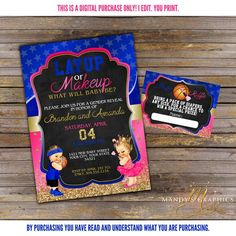 Layup or Makeup Gender Reveal Invitation and Diaper Raffle! Royal Blue, Hot Pink and Gold! Pregnancy Gender Reveal, Baby Gender Reveal Party, Pregnancy Photos, Gender Reveal Themes, Gender Reveal Invitations, Pregnancy Tattoo, Diaper Raffle Tickets, Digital Invitations, Reveal Parties