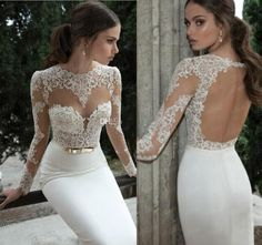 Rp0261 elegant appliques een line hoge kant witte lange mouw open rug kant beading vloerlengte prom dress