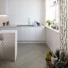 ☁️ Könnyed 3D mintázat  Aparici: Glaciar & Glimpse • • • #interior #homedecor #homestyle #tiles #ceramictiles #aparici #burkolat #coverings #wallcoverings #rokforthome #csempe Corner Desk, Tiles, House Styles, Interior, 3d, Furniture, Norway, Home Decor, Collection