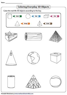 Coloring Everyday 3D Shapes Solid Shapes, 3d Shapes, Introduction To Geometry, Geometry Worksheets, 3d Figures, Real Life, Math, Coloring, Index Cards