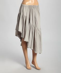 Another great find on #zulily! Gray Ruffled Asymmetrical Hi-Low Skirt by Avatar Imports #zulilyfinds. Like the high low better on the side like this, and could be an easy diy.