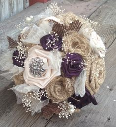 Beautiful bridal bouquets with handmade silk and burlap