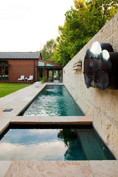 Industrial Modern Design Ideas, Pictures, Remodel and Decor - Really want a lap pool & I like this industrial modern water feature for it!