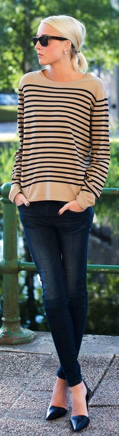 Camel + black striped sweater + Black skinnies + black flats