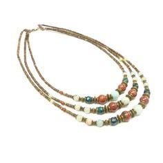 ~pour elle ~ Royal stones - collier ethnique multirang perles en bois et pierres turquoises. collier ethnique pierres d'amazonite et de jaspe - 54,90€ -