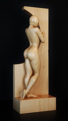Nude Woman Wood Sculpture BY THE WINDOW by JakobWSculpture on Etsy