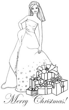 BARBIE COLORING PAGES CHRISTMAS PAGE