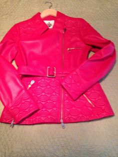 Women's Red Lambskin Leather Jacket Bally Size 10 See Measurements #Bally #QuiltedJackets #Dailycasual