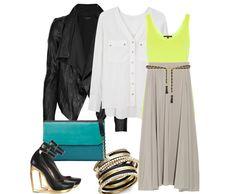 Silk Button Front Blouse (similar) | Neon Jersey Tank | Theory Leather Jacket (similar) | Grey Maxi Skirt | Zara Combined Large Clutch (similar) | Escarpen Compense Heels | Zara Chain Belt (similar) | Bangle Set