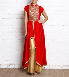 Red & Gold Embroidered Twill Kurta & Sharara by simple kaur for indianroots.com