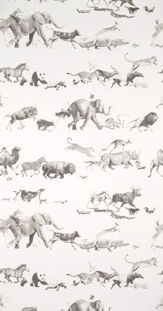 Animals - Pencil on Bone Wallpaper. Perfect for a sophisticated kids room