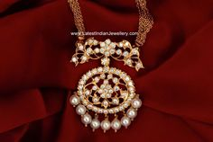 south indian traditional jewellery - diamond and pearl gold pendant