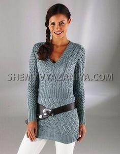 Длинный пуловер с V-образным вырезом горловины