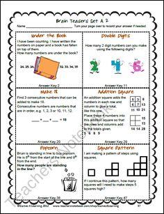 Math Task Cards: Math Problems and Math Brain Teasers Cards Set C ...