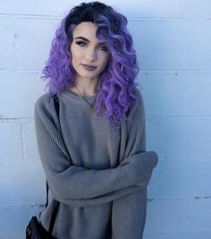 colorful hair - purple, black roots, long, curls.    http://www.thepicta.com/media/1396566744457303596_21377319