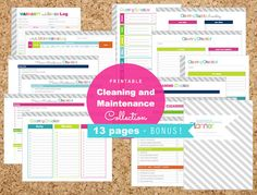 Cleaning and Home Maintenance PDF Printable Pages - INSTANT DOWNLOAD - Home Management, Organization, Homekeeping, Rich Tones